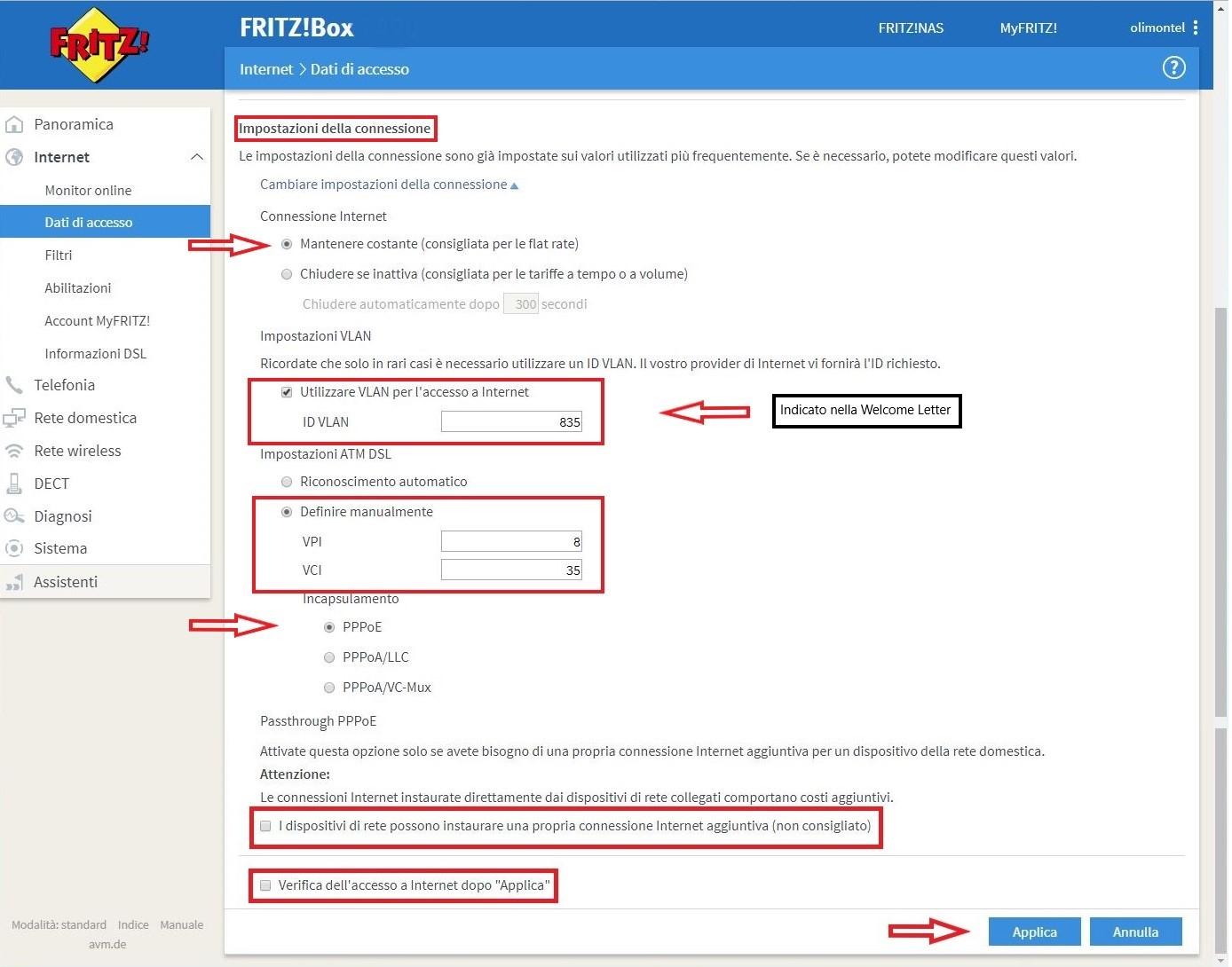 dati accesso FritzBox