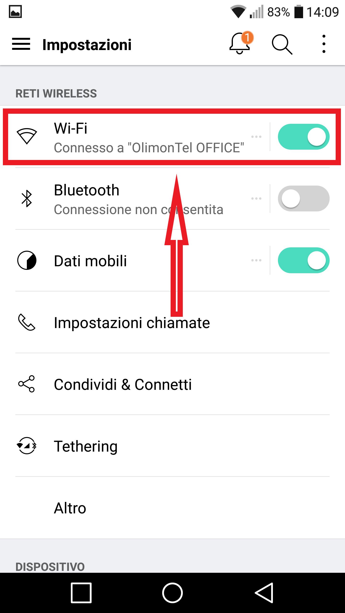 android impostazioni menu