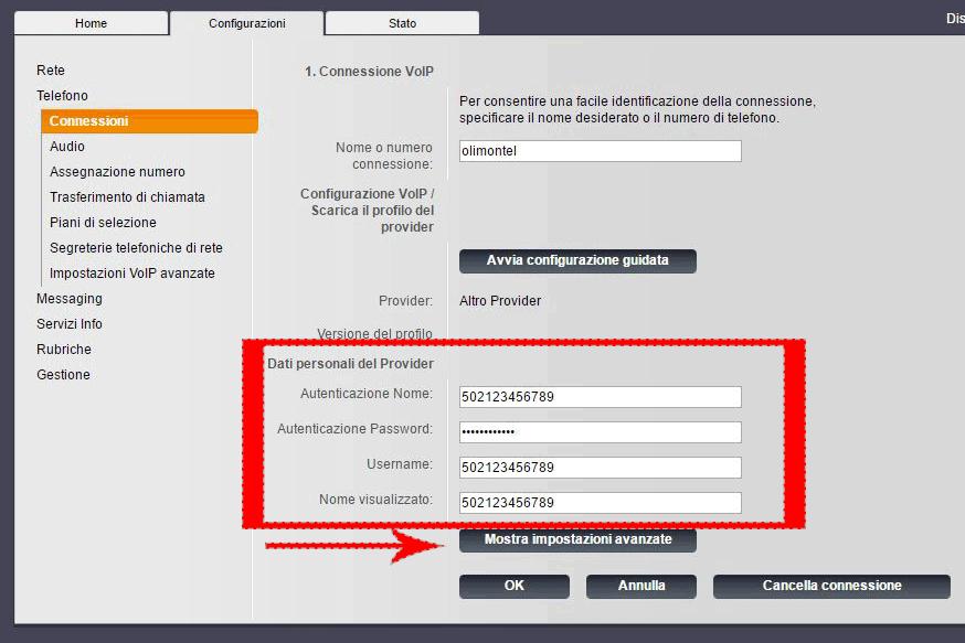 gigaset configurazione account