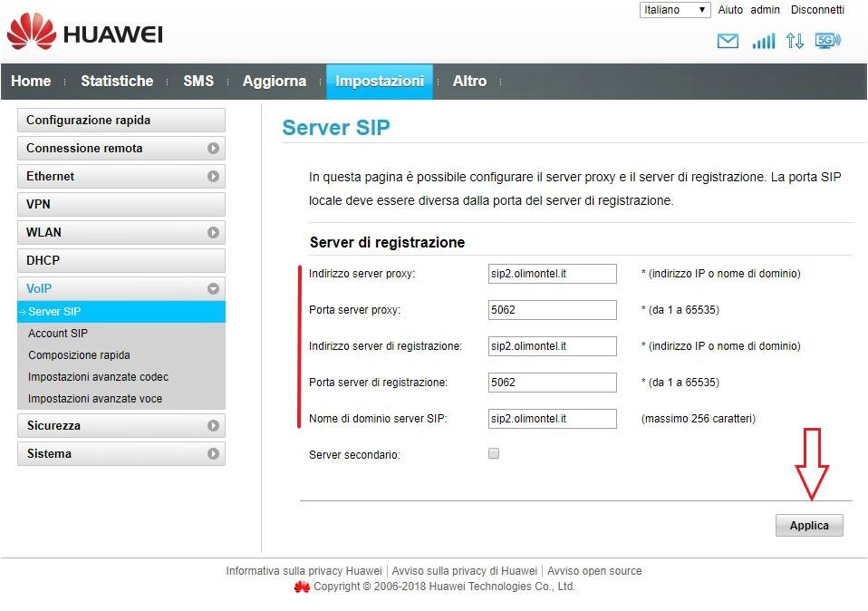 Sip Server Huawei OlimonTel