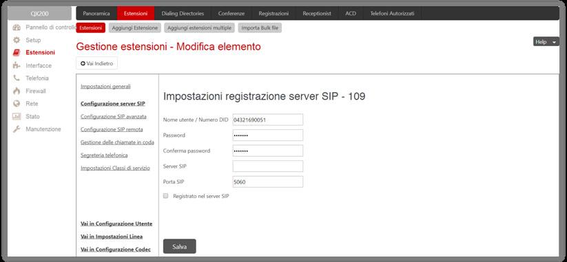 epygi Gestione estensioni – Impostazioni server SIP