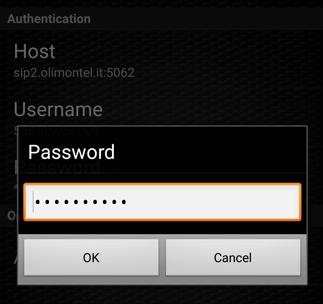 zoiper user password
